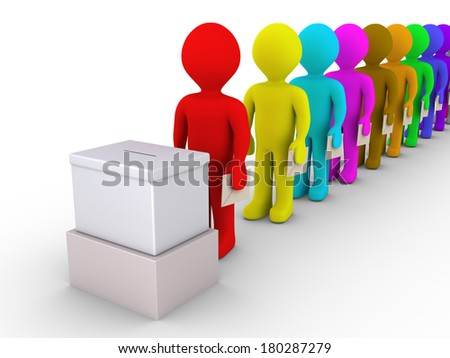 3d people standing in a row are in front of a ballot box - stock photo