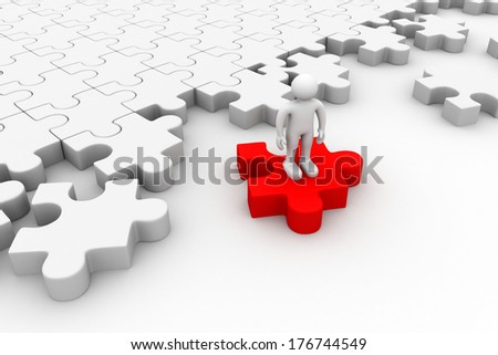 3d people standing on the puzzles - stock photo
