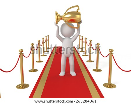 3d people standing on the red carpet with a gold cup. 3d image. Isolated white background - stock photo