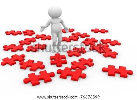 3d people surrounded by puzzle pieces - This is a 3d render illustration - stock photo