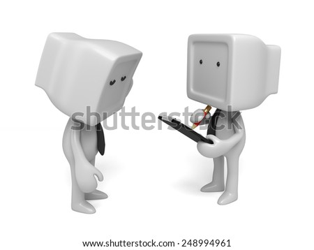 3d people talking to another with a clipboard and a pencil. 3d image. Isolated white background - stock photo