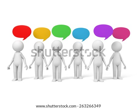 3d people talking with speech bubbles. 3d image. Isolated white background. - stock photo