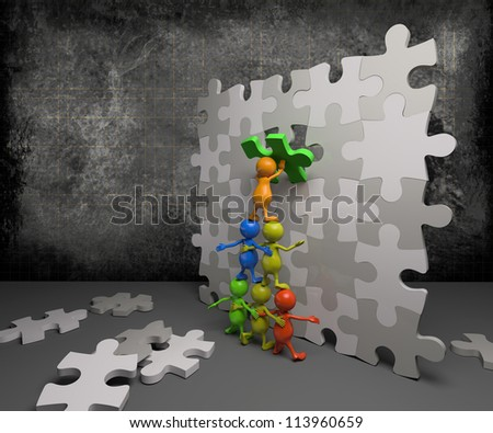 3d people teamwork with puzzle - stock photo