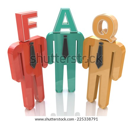 3d people thinking about frequently asked questions. FAQ - stock photo