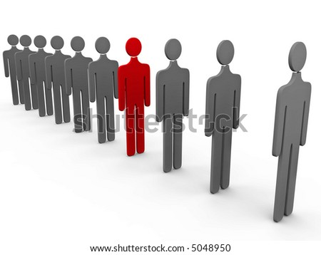 3d people tile and one red over a white background