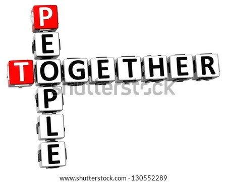 3D People Together Crossword on white background