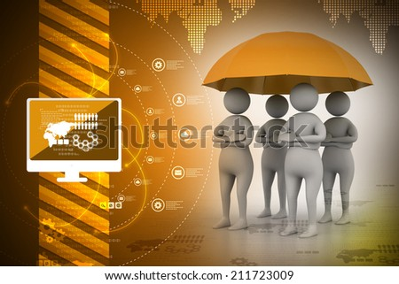 3d people under an umbrella, team work concept - stock photo