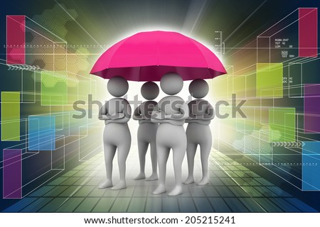 3d people under umbrella, team work concept - stock photo
