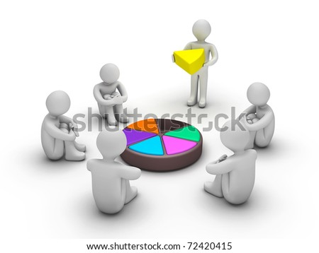 3d people waiting for completion of Trivial Pursuit game - stock photo