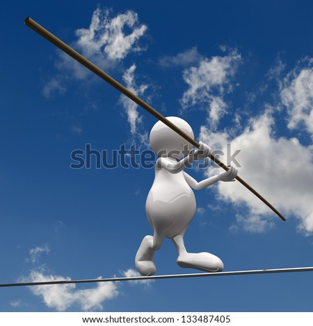 3D People walking on wire on blue sky background - stock photo