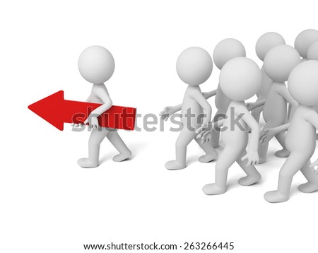 3d people walking with a red arrow. 3d image. Isolated white background - stock photo