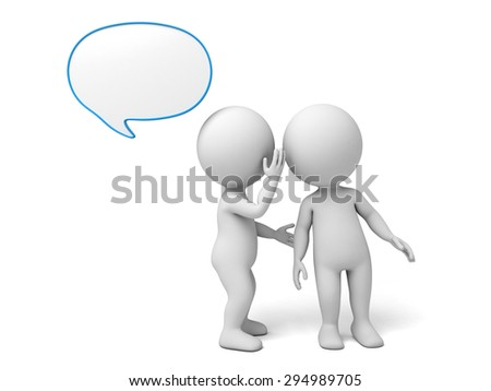 3d people whisper to another one. 3d image. Isolated white background.