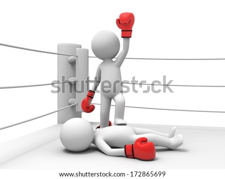 3d people winning a boxing match and with his foot on his opponent - stock photo