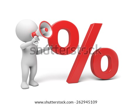 3d people with a big percent sign. 3d image. Isolated white background. - stock photo