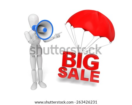 3d people with a big sale sign. 3d image. Isolated white background. - stock photo