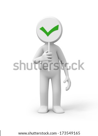 3D people with a check mark symbol - stock photo