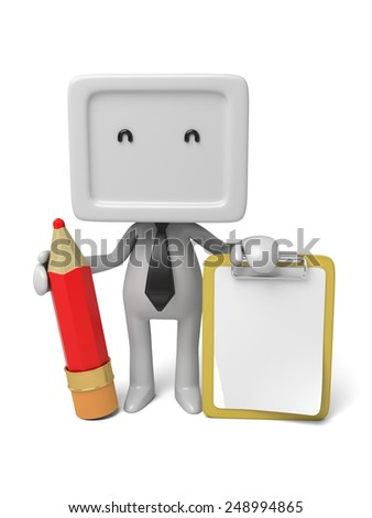 3d people with a clipboard and a pencil. 3d image. Isolated white background - stock photo