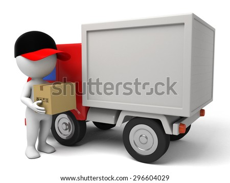 3d people with a delivery truck., shipments and free delivery. - stock photo