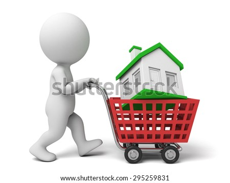 3d people with a house and key. 3d image. Isolated white background
