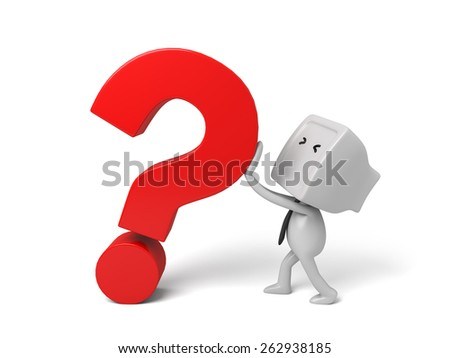 3d people with a large question mark. 3d image. Isolated white background - stock photo