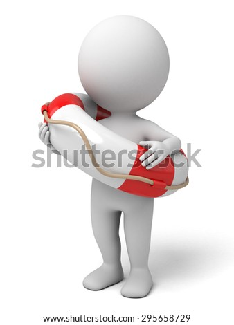 3d people with a lifebuoy. 3d image. Isolated white background. - stock photo