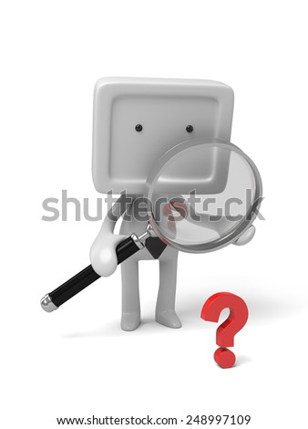 3d people with a magnifier. 3d image. Isolated white background - stock photo