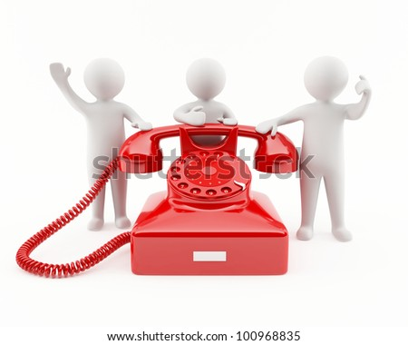 3D people with a red telephone. Contact us concept - stock photo