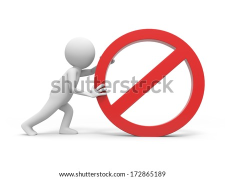 3D people with a stop sign - stock photo