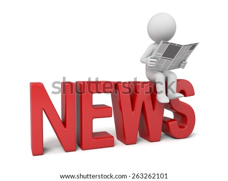 3d people with a word, news concept. 3d image. Isolated white background. - stock photo