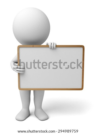 3d people with an empty signboard in hands. 3d image. Isolated white background.