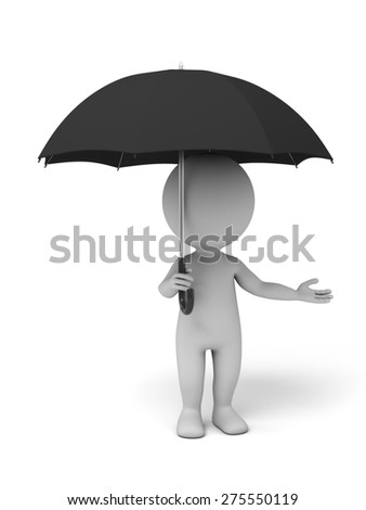 3d people with an umbrella, 3d image. Isolated white background - stock photo