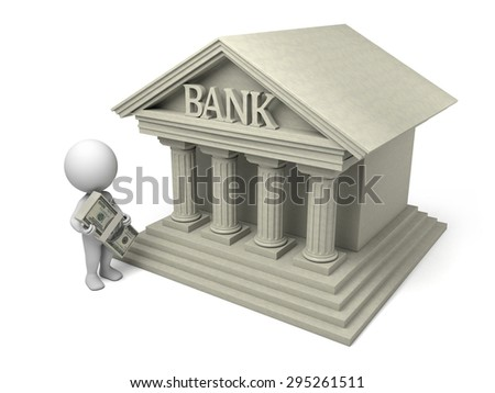 3d people with bank building. 3d image. Isolated white background.