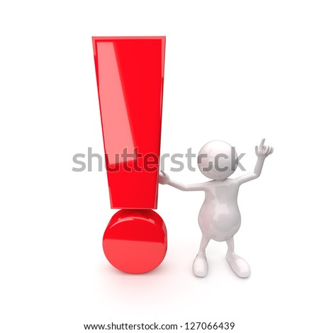 3D People with exclamation mark on White Background - stock photo