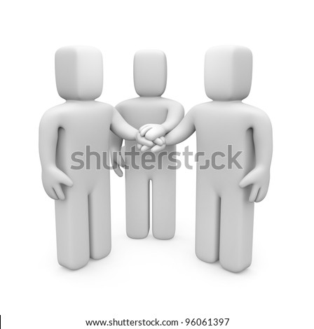 3d people with hands on top of each other. Image contain clipping path