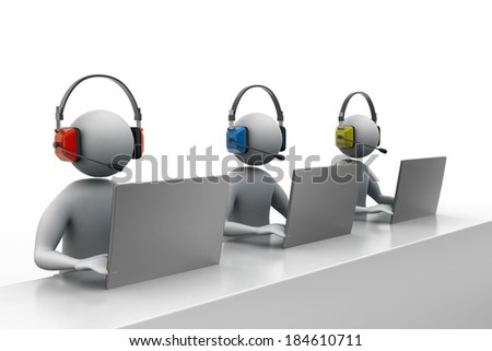 3D people with headset talking over the phone