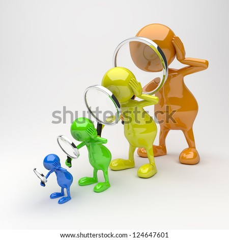 3D People with Magnifying Glass in Different Colors - stock photo