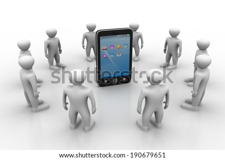 3d people with smart phone - stock photo