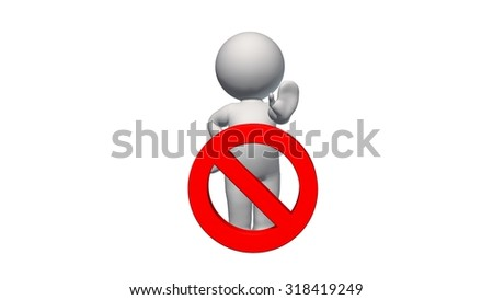 3D People with STOP sign - isolated on white background