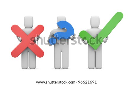 3d people with symbols. Accept or abort. Image contain clipping path - stock photo