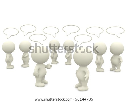 3D people with talk bubbles isolated over a white background - stock photo