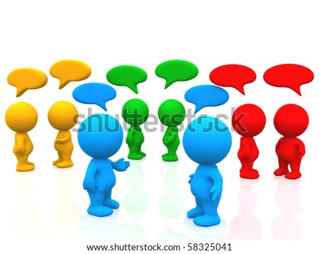 3D people with talk bubbles - isolated over a white background - stock photo