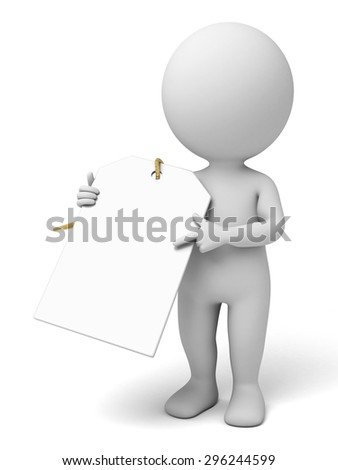 3d people with the empty tag. 3d image. Isolated white background - stock photo