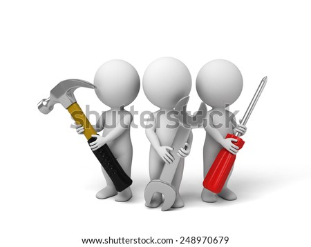 3d people with the tools in the hands of. 3d image. Isolated white background.