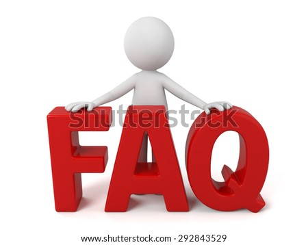 3d people with the word of FAQ. 3d image. Isolated white background. - stock photo