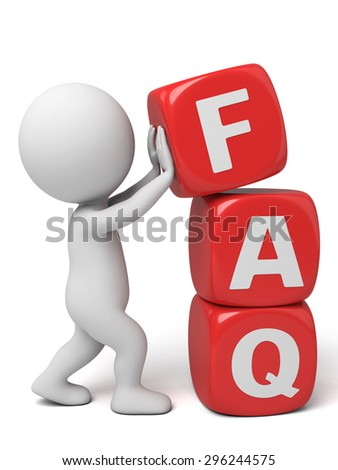 3d people with the word of FAQ. 3d image. Isolated white background.