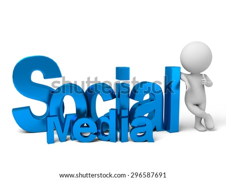 3d people with the word social media. 3d image. Isolated white background.