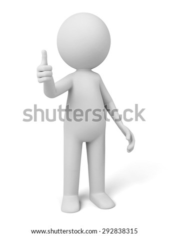 3d people with thumb up. 3d image. Isolated white background