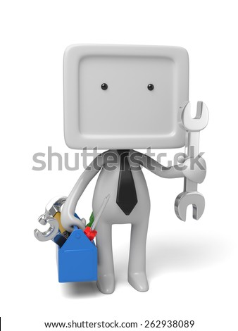 3d people with toolbox and wrench. 3d image. Isolated white background