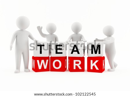 3D people working as a team