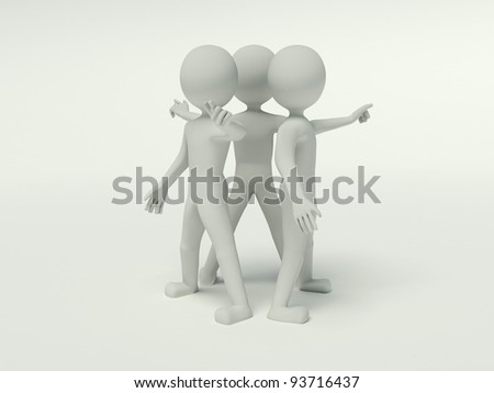 3d people working in the group and pressing buttons on the virtual background - stock photo
